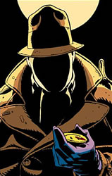 Rorschach with The Comedian's blood-stained smiley face badge