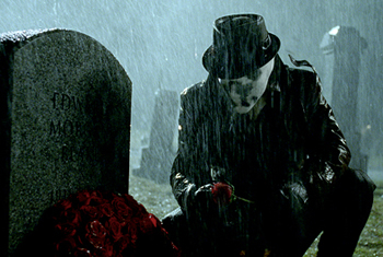 Rorschach pays his final respects to Edward Blake
