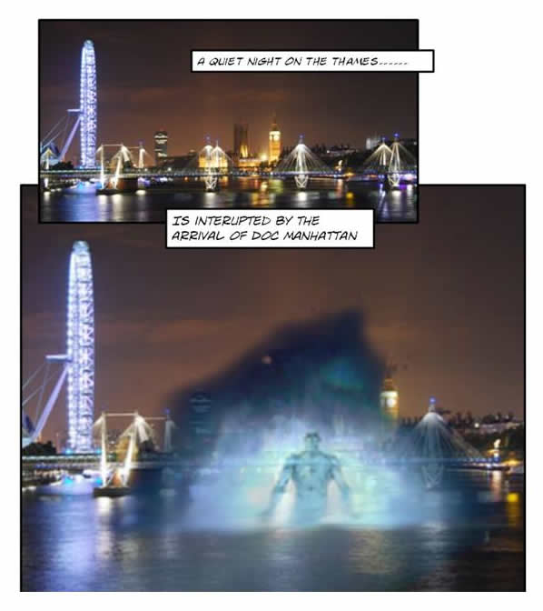 Dr. Manhattan rises from the Thames River in London